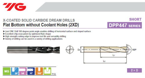 6mm Shank 3.3mm Flat Bottom Carbide Dream Drill 2XD X-Coated w//o Coolant