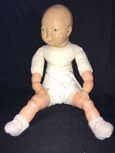 "Vintage Vinyl/Plastic & Cloth Baby Doll Lifelike Newborn Infant 18"" Blue Eyes"