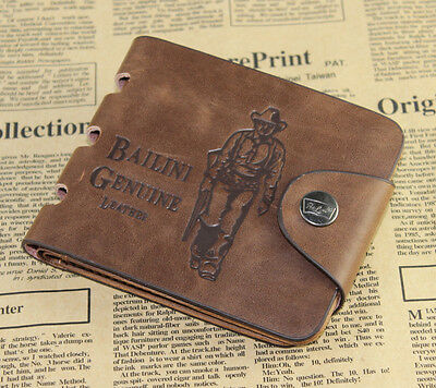 Mens Leather Card Clutch Cente Money Clip Holder Bifold Wallet Pockets Purse J6P