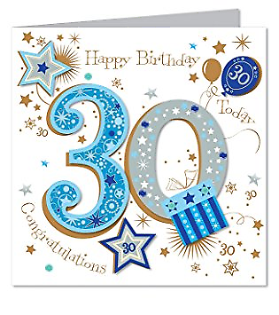 8x8 Large Talking Pictures 30th Birthday Card Blue Male Luxury Handmade