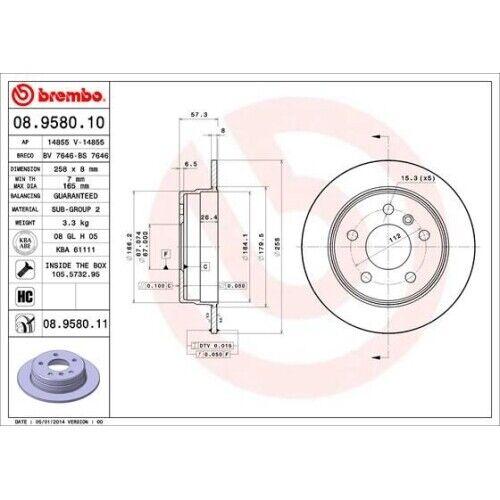 2 Bremsscheibe BREMBO 08.9580.11 COATED DISC LINE passend für MERCEDES-BENZ