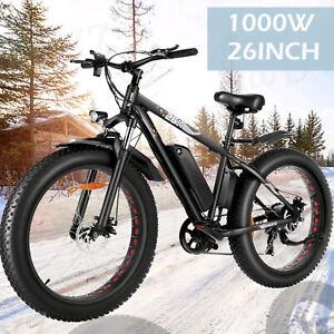"Max 1000W 26"" 48V Fat Tire Electric Bike Mountain Bicycle Snow Beach City Ebike`"