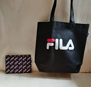 685dfdef88d NEW FILA LOGO BLACK Shoulder Tote Bag   Pouch Zipper Set from Japan ...