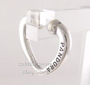 bf35976b3 Image is loading OPEN-HEART-CUFF-Authentic-PANDORA-Silver-Earring-297214-