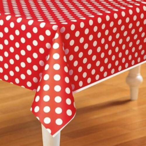 Rojo A Lunares cubierta de tabla plástica cubre Mesa Cumpleaños té partes Baby Shower!