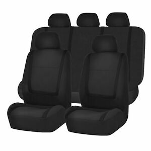 Full-Car-Seat-Covers-Set-Solid-Black-For-Auto-Truck-SUV-3-Pc-Set