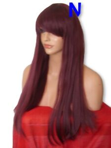 Womens-PLUM-RED-Fashion-costume-LONG-sleek-Straight-real-Natural-Wig-N-16
