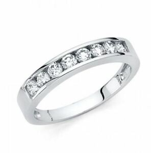 14k-Solid-White-Gold-0-75-Ct-Round-Cut-Diamond-Wedding-Band-Ring-Channel-Set