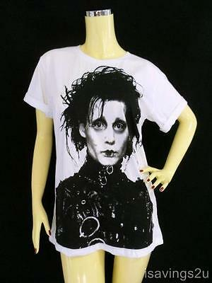 JOHNNY DEPP T-shirt, Edward Scissorhands WHITE Unisex Cotton S M or L Movie STAR