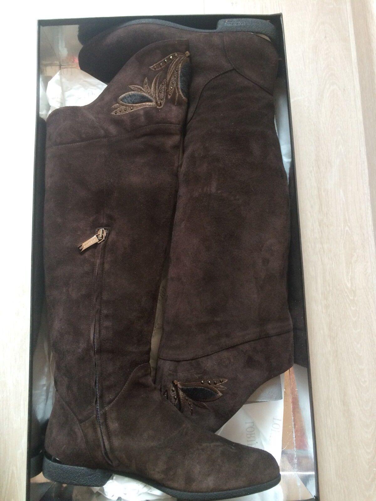 Loriblu botas, gamuza-cuero, marrón oscuro, como nuevo