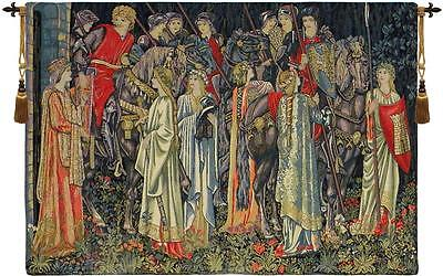 Group of Knights Quest for the Holy Grail Tapestry Wall Hanging B - H 25 x W 36