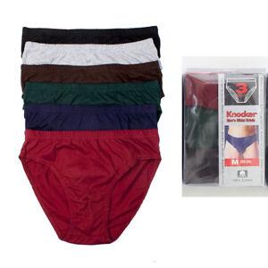 3-Pack-Homme-Bikinis-Slip-Sous-Vetements-100-Coton-Solid-Knocker-Taille-M-32-34
