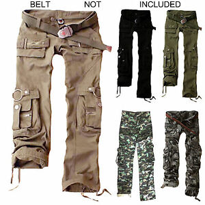 Womens Trousers Army Military Ladies Casual Cargo Pants Ladies ...