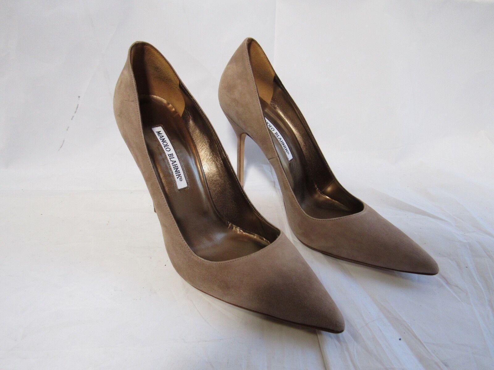 Manolo Blahnik Pointed Toe Tan Suele  Heels Dimensione 40  10 Worn Una volta  contatore genuino