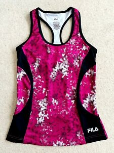 Fila-Sport-Womens-Pink-amp-Black-Racerback-Athletic-Tank-Top-W-Built-in-Bra-Sz-XS