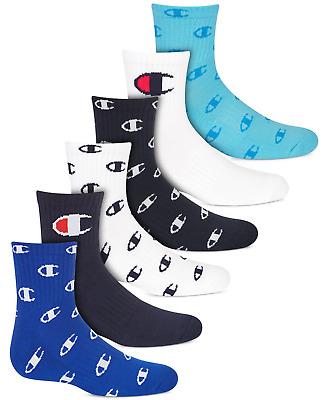 Champion Kid/'s 6 Pack C All Over Quarter  Socks