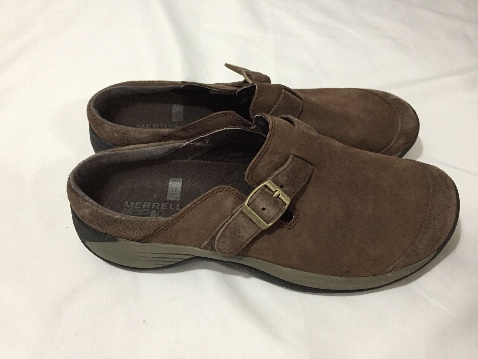 NEW Merrell Encore Bracken Brown Suede Suede Suede Buckle Slip On Clogs shoes Leather 10 ae22cb