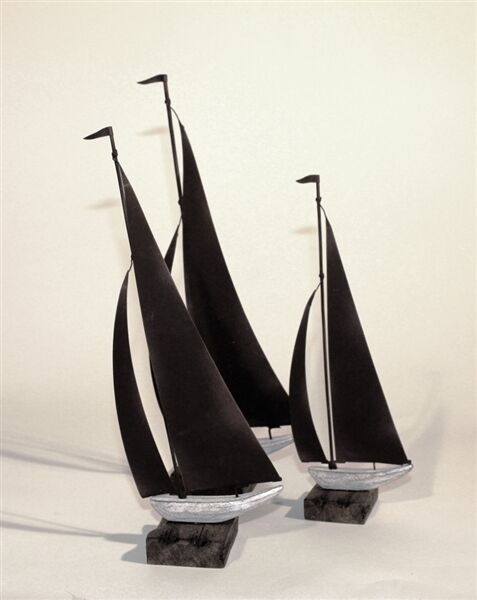 Three Decorative Tin Sailing Boats on Driftwood Wooden Plinth with Rust Finish