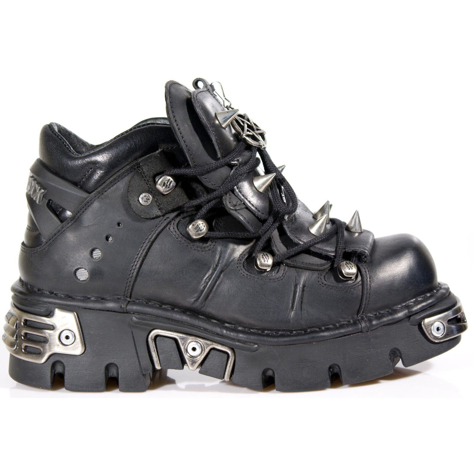 Newrock New Rock 110 Negro Metalizado Gótico Boot Botas De Encaje De Cuero Unisex Stud