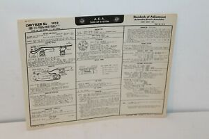 1952 CHRYSLER SIX CYLINDER TUNE UP CHART W/WIRING DIAGRAMS ...