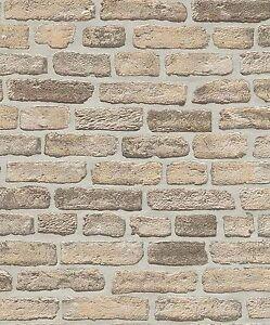 Erismann Papier Peint Mur De Pierre Brique Optique Beige