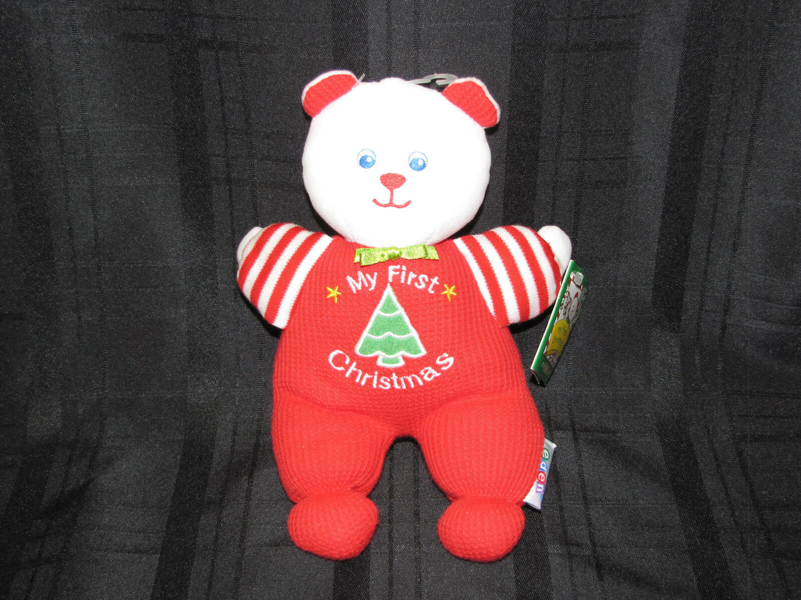 EDEN MY FIRST XMAS STUFFED PLUSH THERMAL TEDDY BEAR RATTLE RED STRIPE TOY NEW