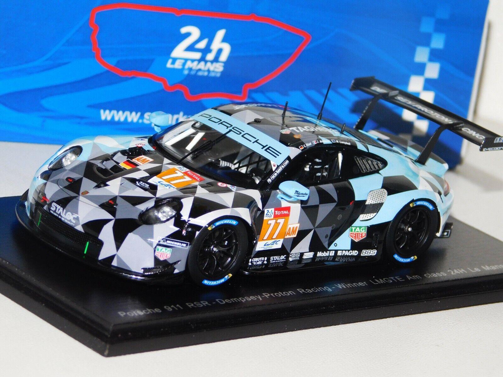 PORSCHE 911 RSR Dempsey Racing  77 Winner LMGTE Le Mans 2018 Spark S7039 1 43