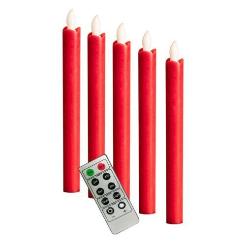 LED Echtwachs Stabkerzen Rot Set 5 teilig 25cm Timerfunktion Dauer//Flackerlicht