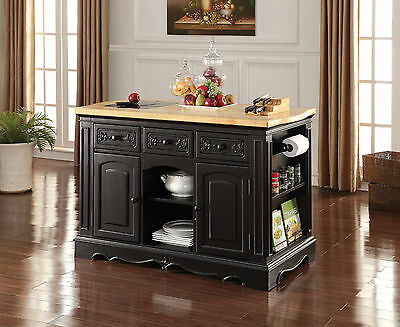 NEW DOLORES NATURAL WOOD TOP BLACK FINISH WOOD KITCHEN ISLAND CABINET W/  DRAWERS | EBay