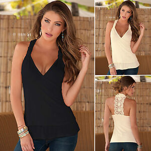 Womens-Lace-V-Neck-Vest-Tank-Top-Summer-Casual-Sleeveless-Tight-Tee-Blouse-Shirt