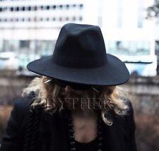 494aa76bac007 ByTheR Men s Gothic Dark Black Classic Wear Noir Wool Felt Fedora Wide Brim  Hat
