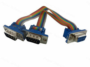 6inch-DB9-Female-Port-to-Dual-DB9-RS232-Male-Serial-Y-Splitter-Ribbon-Flat-Cable