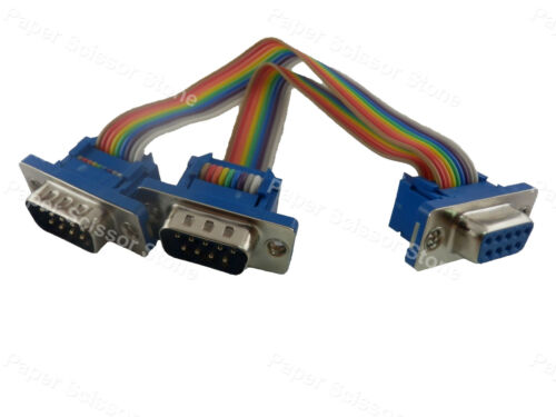 6inch DB9 Female Port to Dual DB9 RS232 Male Serial Y Splitter Ribbon Flat Cable