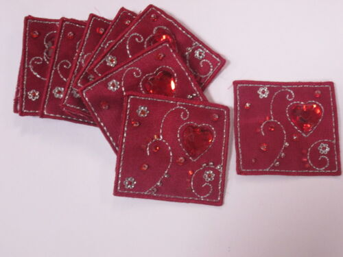 Set of 10 Embroidered Love Heart Red Beaded Card Making Motifs Patches #1A128