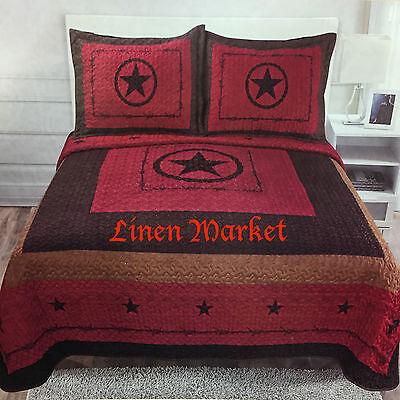 3 Piece Burgundy Texas Western Star Design Quilt BedSpread Comforter