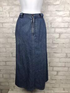 Vintage-LL-Bean-Jean-Denim-Maxi-Skirt-Womens-Modest-Flannel-Lined-10-Petite