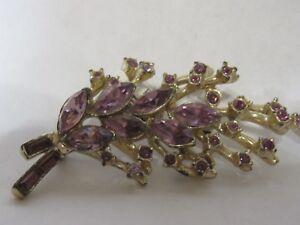 Vintage-Rhinestone-Pin-Brooch-Purple-Stones