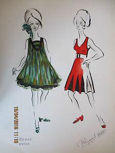 Aquarelle dessin de mode ann e 60 raymond solari peinture proven ale art price ebay - Dessin annee 60 ...