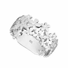 925 Solid Sterling  Silver Daisy Chain Flower Band Ring Sizes G-Z /20 Sizes
