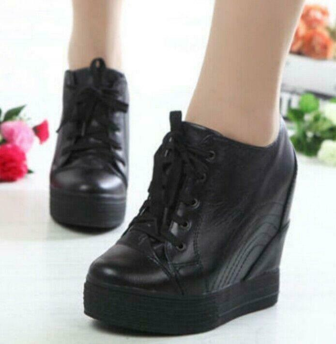 Womens Leather Hidden Wedge heel Lace Up Tennis Sneakers casual shoes pumps