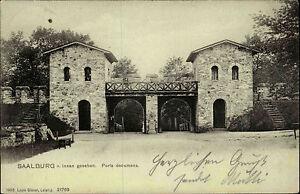 SAALBURG-Taunus-Nachporto-Vermerk-1910-alte-AK-Hessen-Porta-Decumana-Burg