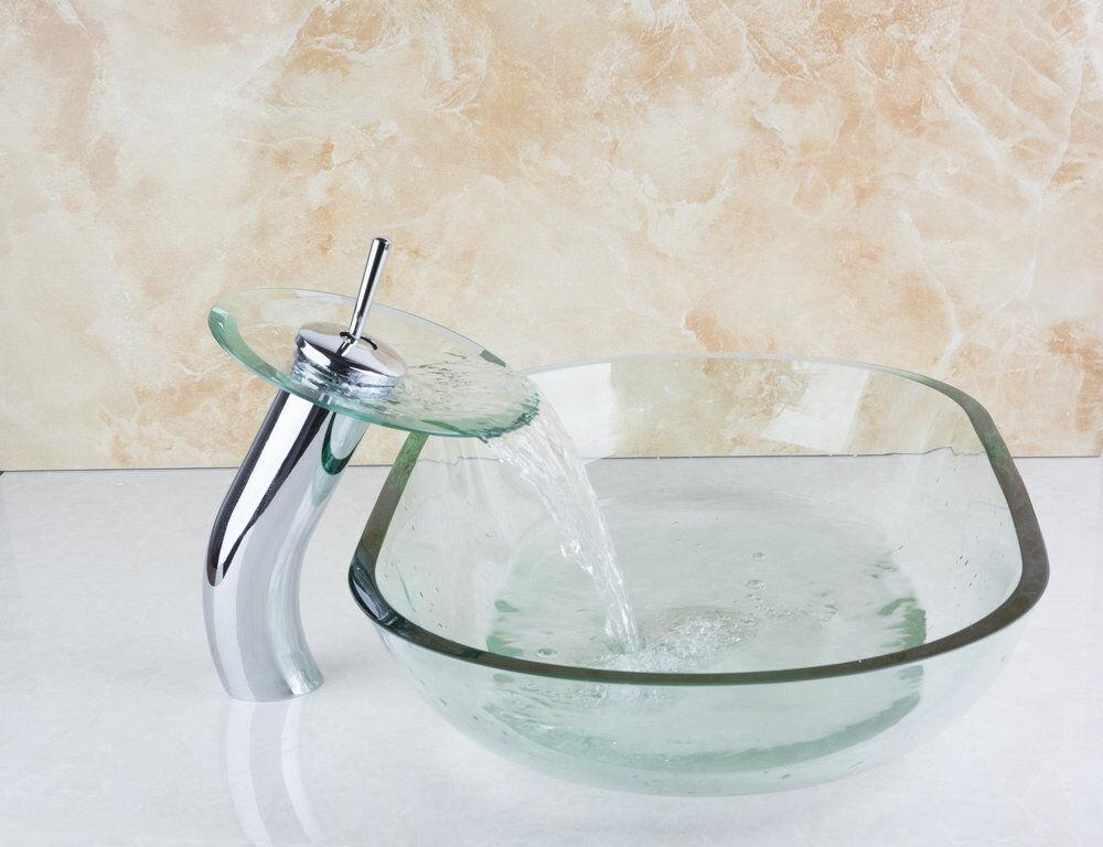 Grifo Cascada con vidrio templado de Baño Cuenca Fregadero de drenaje Pop conjunto Bol