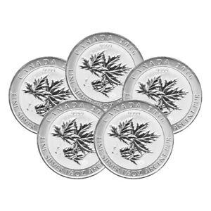 Lot of 5 x 1.5 oz 2015 Canadian Maple Leaf Superleaf Silver Coin