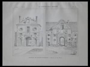 FLEURY EN BIERRE, CHATEAU - 1897 - PLANCHE ARCHITECTURE - WABLE - France - Thme: Architecture Période: XIXme et avant - France