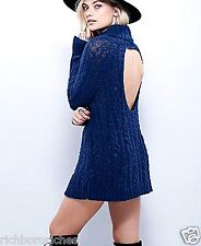 NEW Free People navy blue cotton cowlneck Cable Open Back Sweater Tunic XS $148