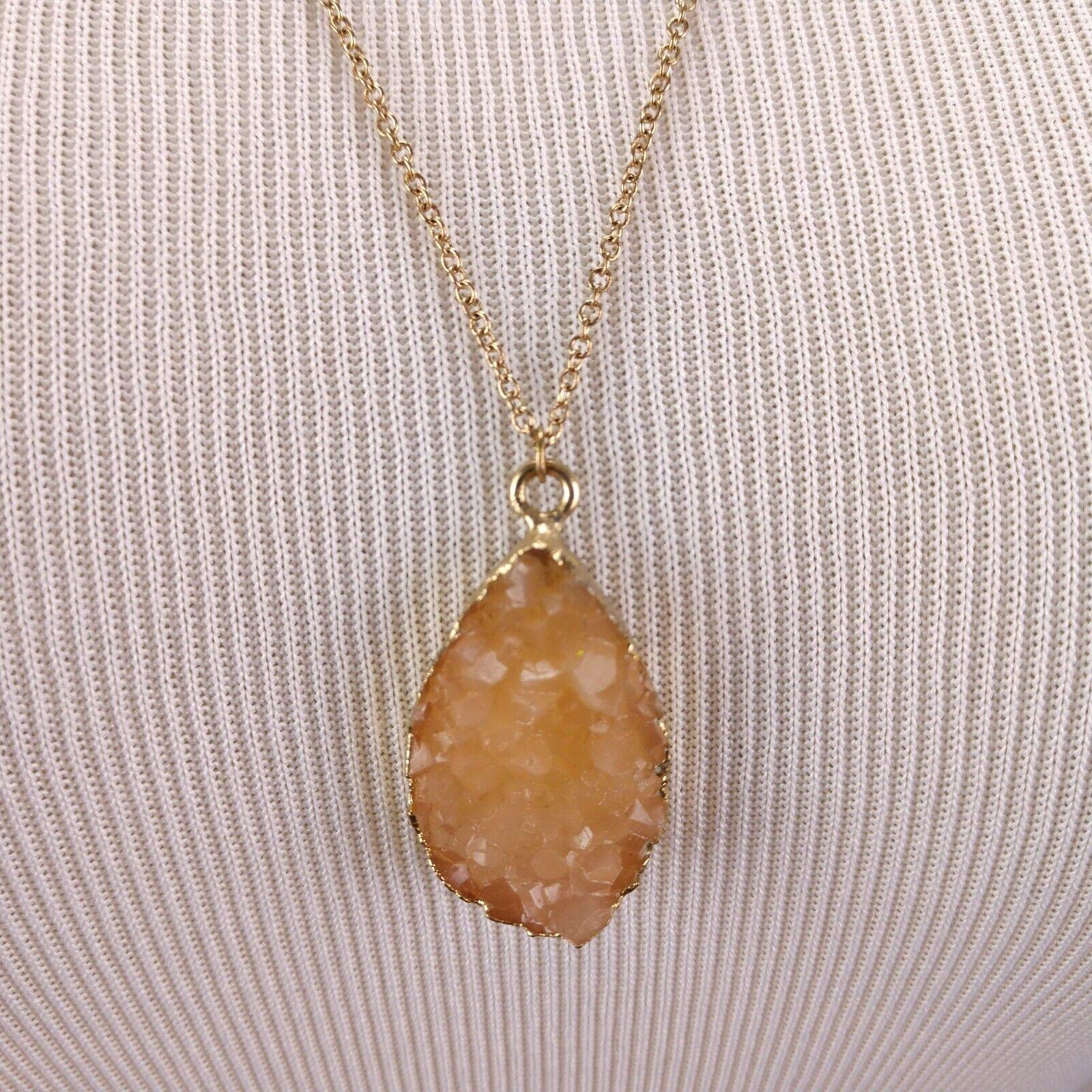 Gold Dipped Citrine Quartz Raw Geode Pendant Neck… - image 1