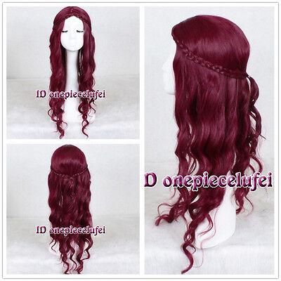 "29"" Long WINE RED No Bangs wavy curly Fashion Hair Wig cosplay wig +a wig cap"