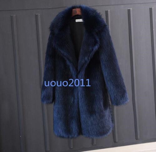 Men/'s fox fur Lapel 3 couleurs longue Parka manteau de fourrure Veste Outwear Hiver chaud Tops