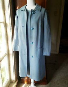 VTG-Butte-Knit-Button-Down-Coat-Suit-Dress-Set-Wool-Lite-Blue-Petite-Size-13-14