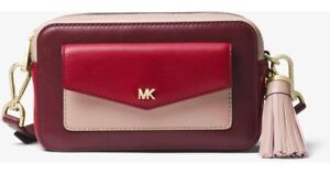 5ab95994690441 NWT Michael Kors Small Tricolor Leather Camera Bag ~ Oxblood Multi ...